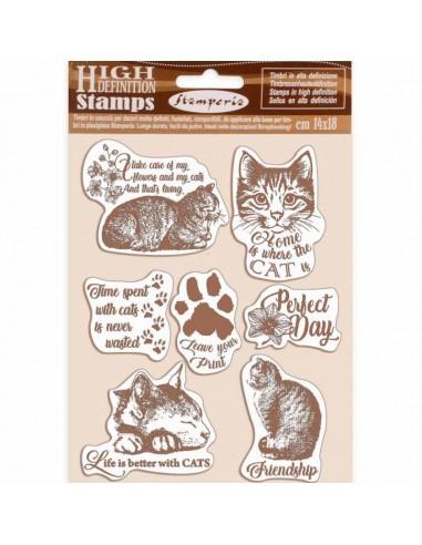 Sello de caucho 14x18cm - Cats