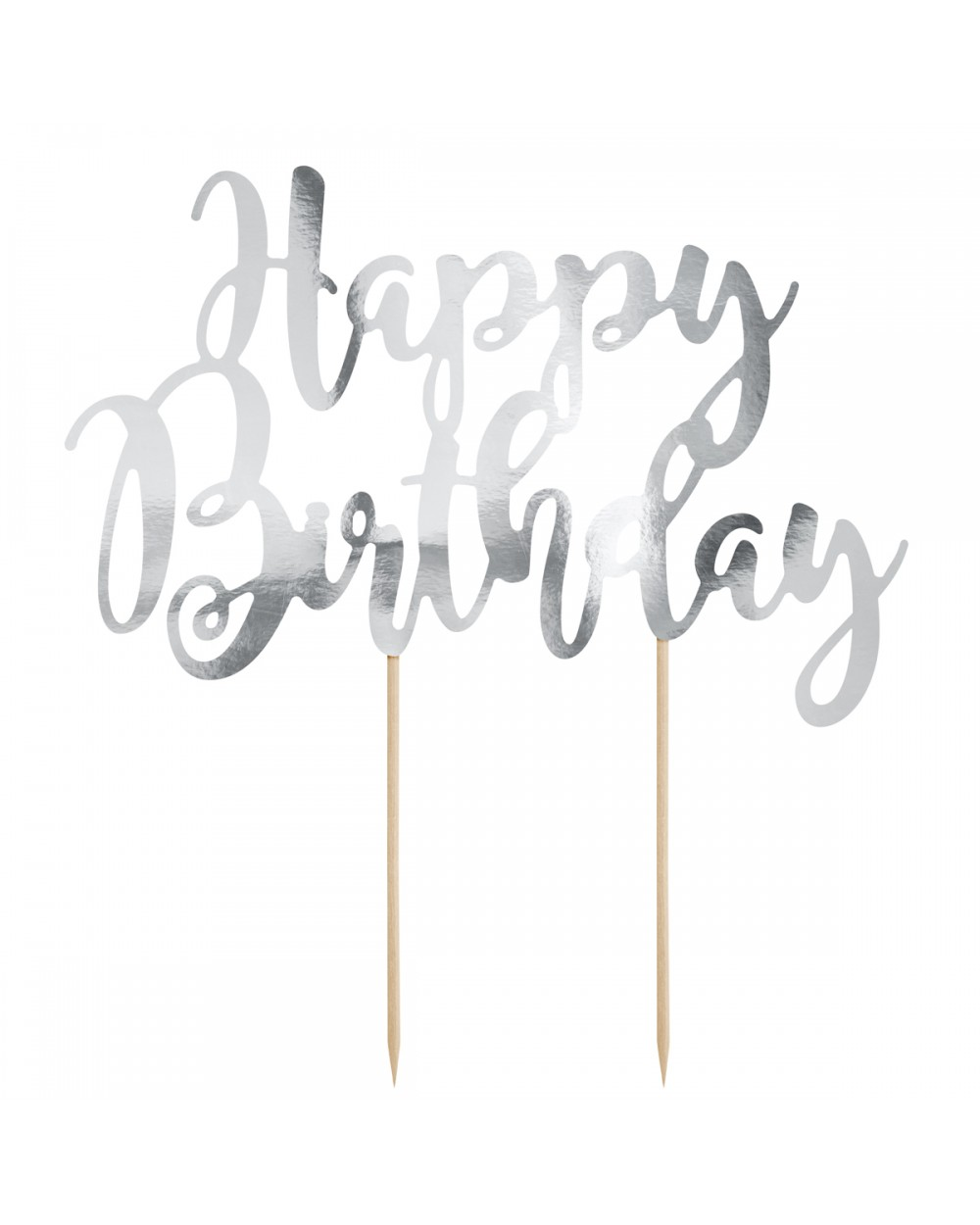 PartyDeco Topper para Tartas Happy Birthday - Plata+
