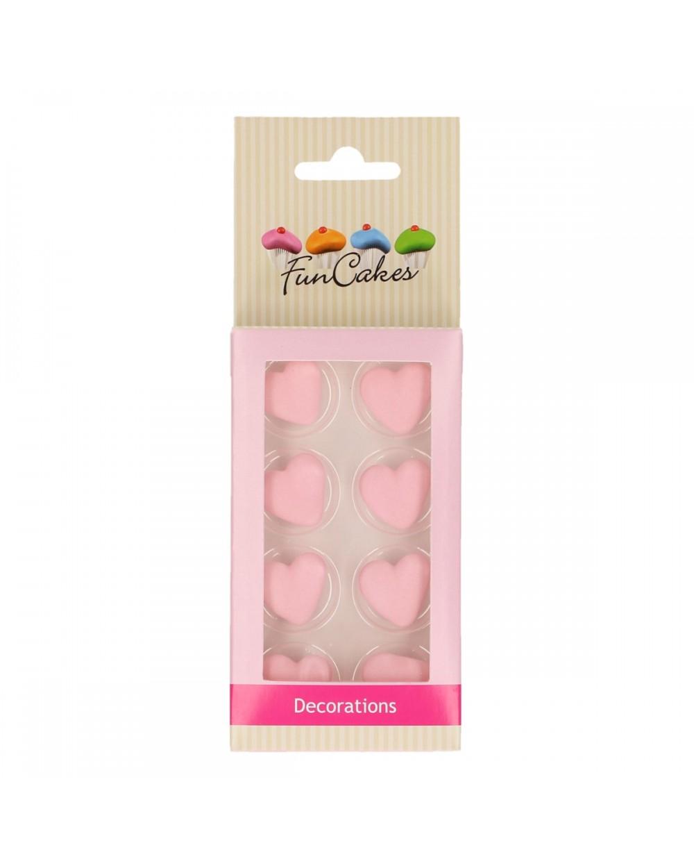 FunCakes Sugar Decorations Heart Pink Set/8+