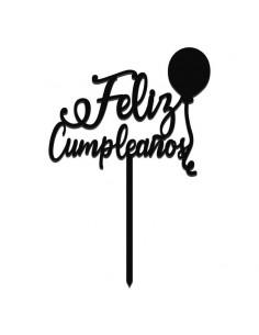 Topper Feliz cumpleaños color negro
