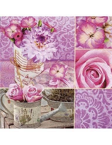 SERVILLETA 33X33CM 20UND. Rosa Floral Collage