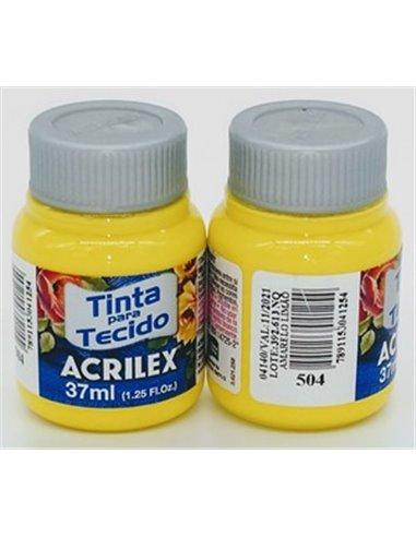 PINTURA TELA MATE ACRILEX Nº504 37ML. AMARILLO LIMÓN