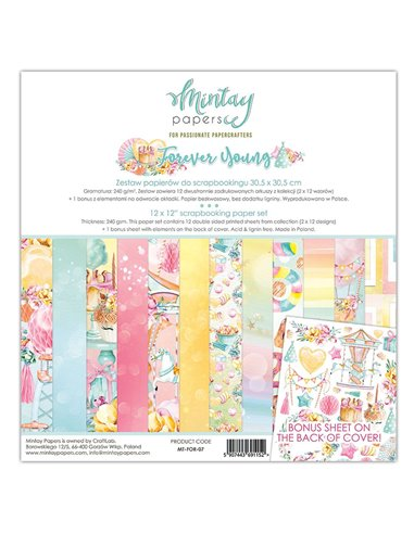 MT-FOR-07 MINTAY BY KAROLA SET PAPEL 12x12 Forever Young