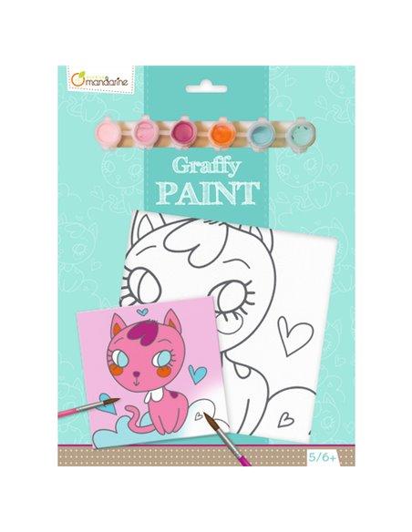Graffy Paint,gato corazón 20x20 cm
