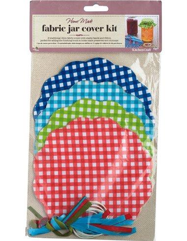 Home Made Set de 8 cubiertas textiles para bote melmelada - A cuadros*DESCATALOGADO*