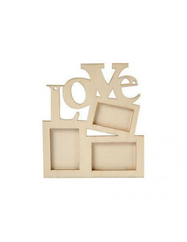 Marco de 3 fotos madera - LOVE