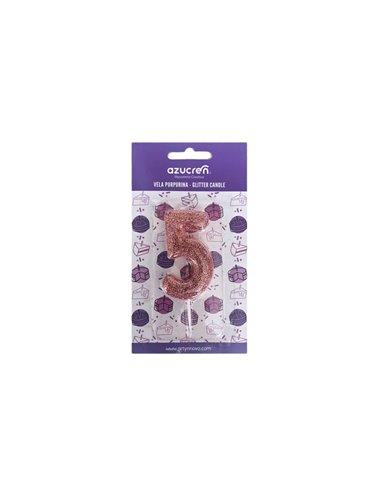 Azucren vela nº 5 purpurina rosa con blister