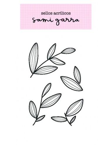 Colección Lazos - Sello acrílico hojitas